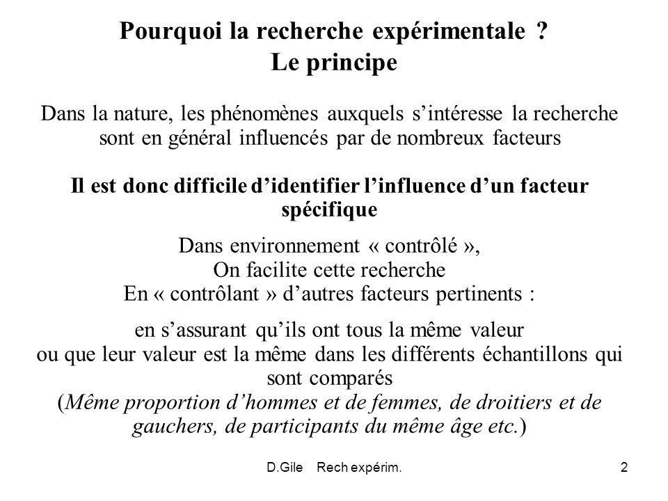 D.Gile Rech expérim.2 Pourquoi la recherche expérimentale ? Le principe Dans la nature, les phénomènes auxquels sintéresse la recherche sont en généra
