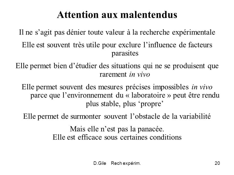D.Gile Rech expérim.20 Attention aux malentendus Il ne sagit pas dénier toute valeur à la recherche expérimentale Elle est souvent très utile pour exc