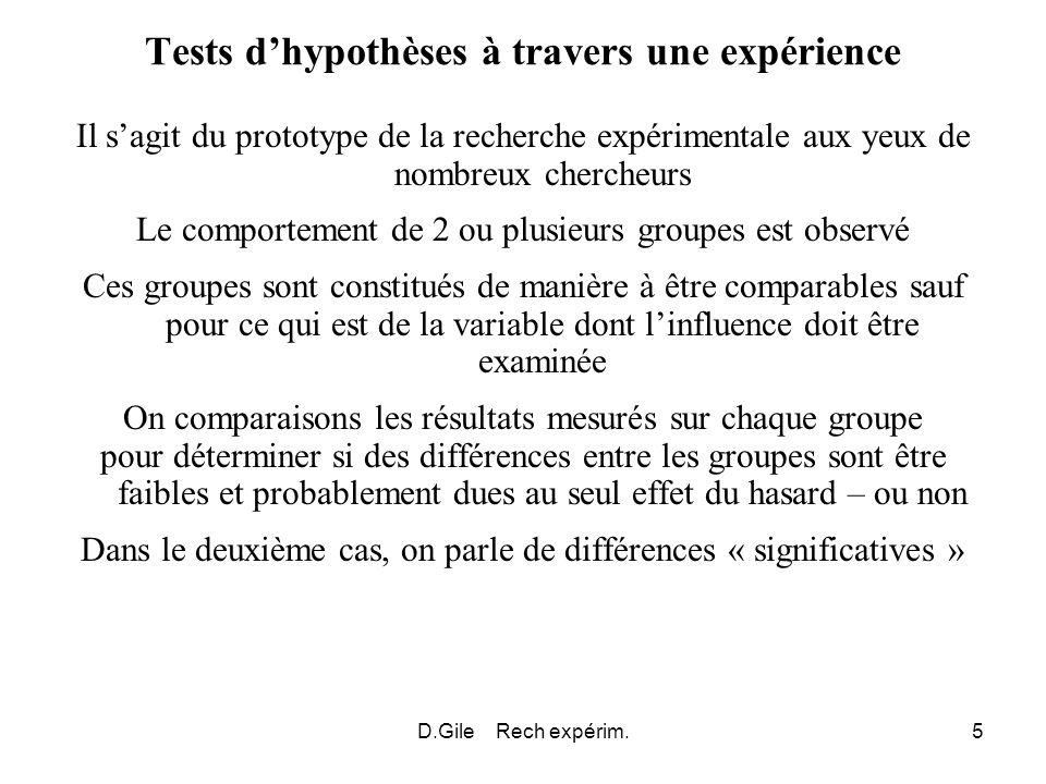 D.Gile Rech expérim.6 Expériences exploratoires Les expériences tests dhypothèses sont les plus connues Mais ce ne sont pas les seules Expériences exploratoires : Et si….