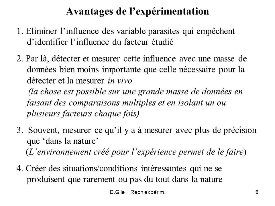 D.Gile Rech expérim.8 Avantages de lexpérimentation 1. Eliminer linfluence des variable parasites qui empêchent didentifier linfluence du facteur étud