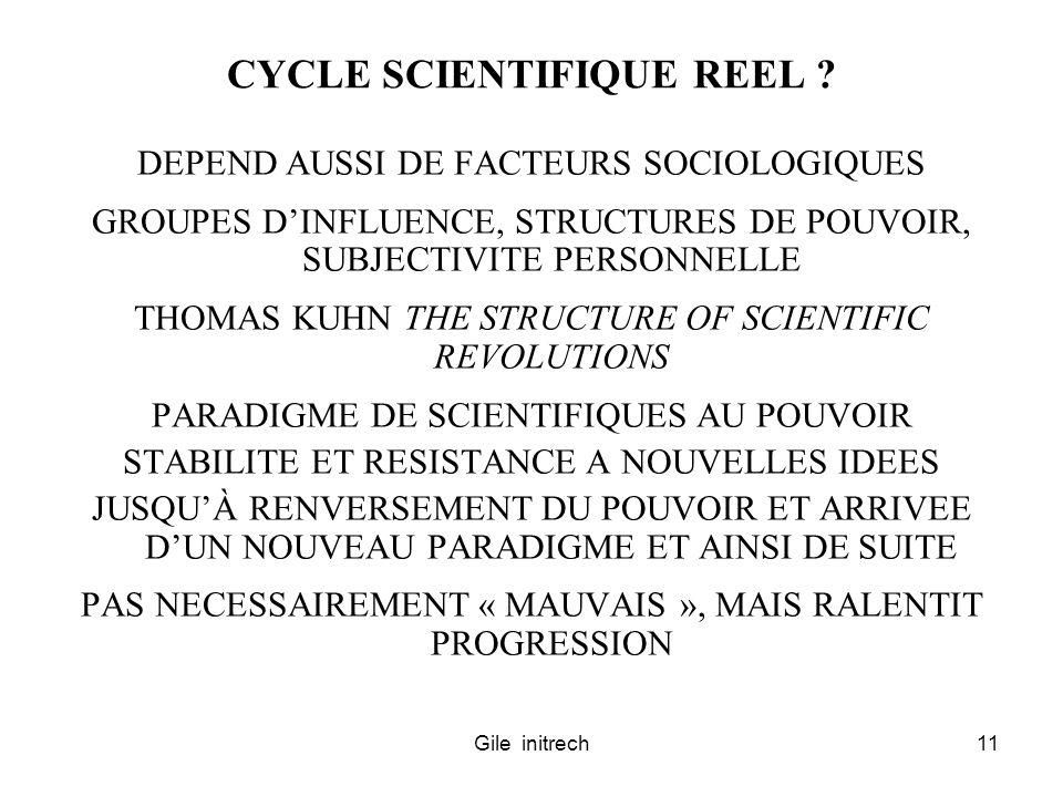 Gile initrech11 CYCLE SCIENTIFIQUE REEL ? DEPEND AUSSI DE FACTEURS SOCIOLOGIQUES GROUPES DINFLUENCE, STRUCTURES DE POUVOIR, SUBJECTIVITE PERSONNELLE T