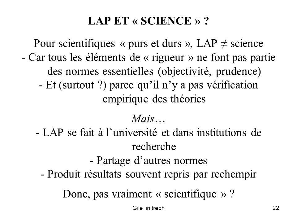 Gile initrech22 LAP ET « SCIENCE » ? Pour scientifiques « purs et durs », LAP science - Car tous les éléments de « rigueur » ne font pas partie des no