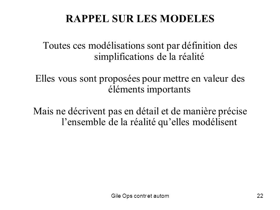 Gile Ops contr et autom22 RAPPEL SUR LES MODELES Toutes ces modélisations sont par définition des simplifications de la réalité Elles vous sont proposées pour mettre en valeur des éléments importants Mais ne décrivent pas en détail et de manière précise lensemble de la réalité quelles modélisent
