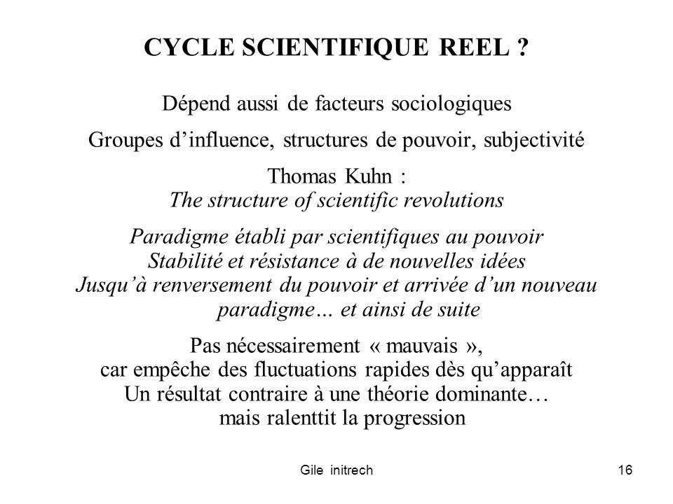 Gile initrech16 CYCLE SCIENTIFIQUE REEL ? Dépend aussi de facteurs sociologiques Groupes dinfluence, structures de pouvoir, subjectivité Thomas Kuhn :