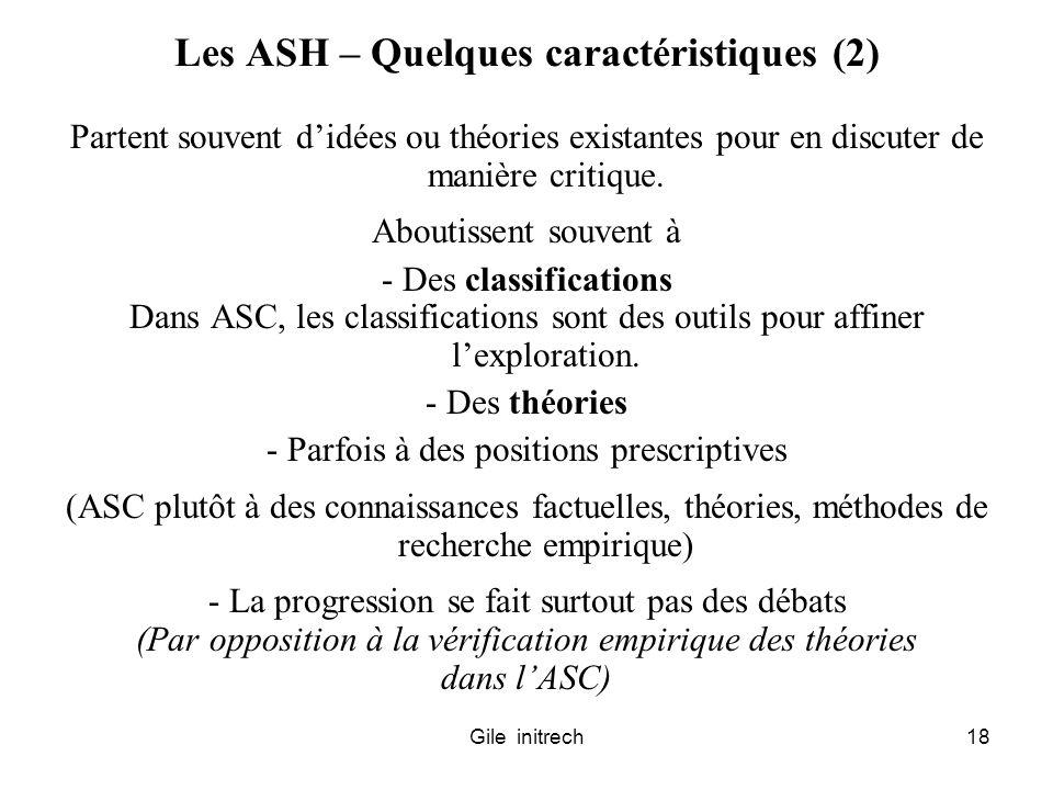 Gile initrech18 Les ASH – Quelques caractéristiques (2) Partent souvent didées ou théories existantes pour en discuter de manière critique. Aboutissen