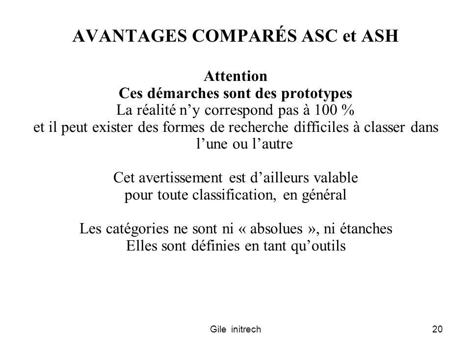Gile initrech20 AVANTAGES COMPARÉS ASC et ASH Attention Ces démarches sont des prototypes La réalité ny correspond pas à 100 % et il peut exister des