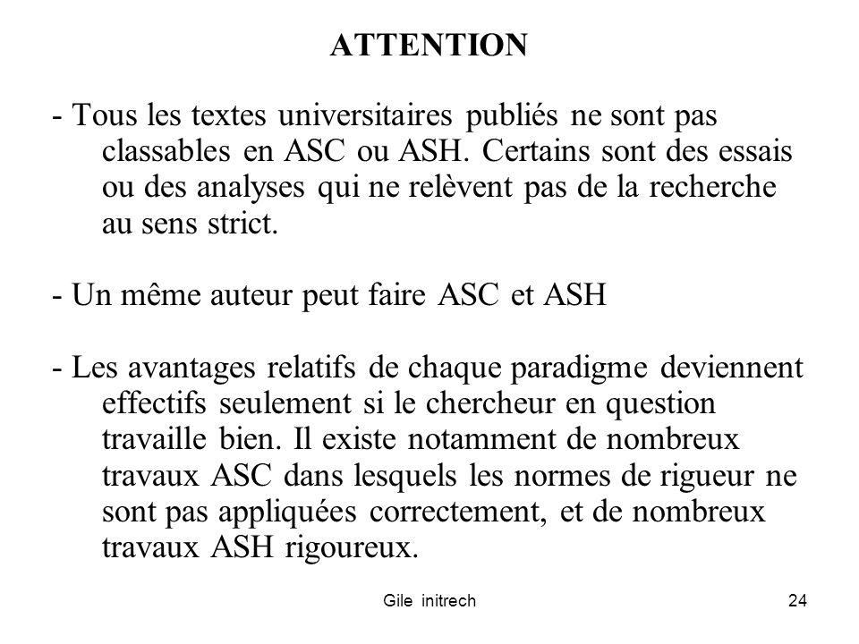 Gile initrech24 ATTENTION - Tous les textes universitaires publiés ne sont pas classables en ASC ou ASH. Certains sont des essais ou des analyses qui
