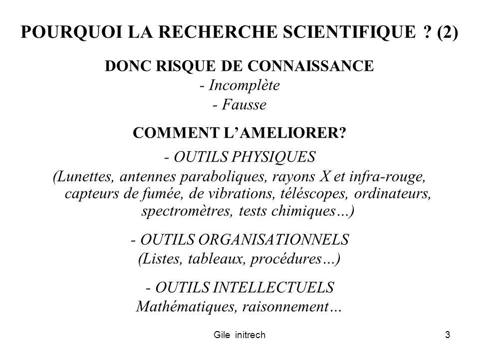 Gile initrech3 POURQUOI LA RECHERCHE SCIENTIFIQUE ? (2) DONC RISQUE DE CONNAISSANCE - Incomplète - Fausse COMMENT LAMELIORER? - OUTILS PHYSIQUES (Lune