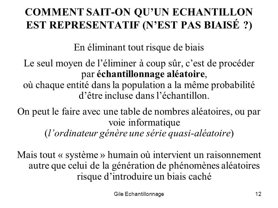 Gile Echantillonnage12 COMMENT SAIT-ON QUUN ECHANTILLON EST REPRESENTATIF (NEST PAS BIAISÉ ?) En éliminant tout risque de biais Le seul moyen de lélim