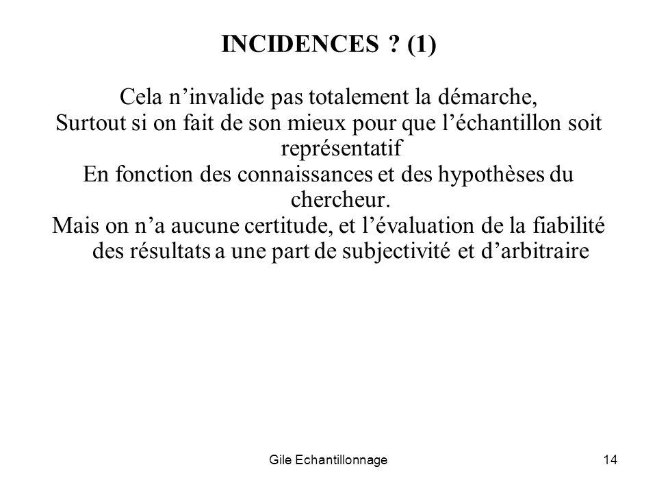Gile Echantillonnage14 INCIDENCES ? (1) Cela ninvalide pas totalement la démarche, Surtout si on fait de son mieux pour que léchantillon soit représen