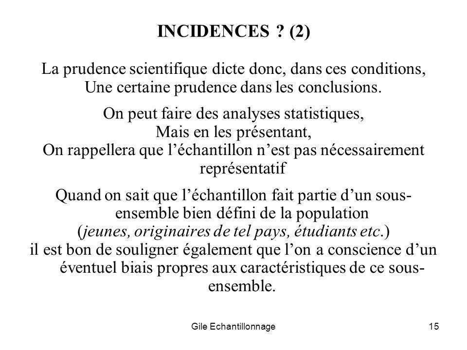 Gile Echantillonnage15 INCIDENCES ? (2) La prudence scientifique dicte donc, dans ces conditions, Une certaine prudence dans les conclusions. On peut