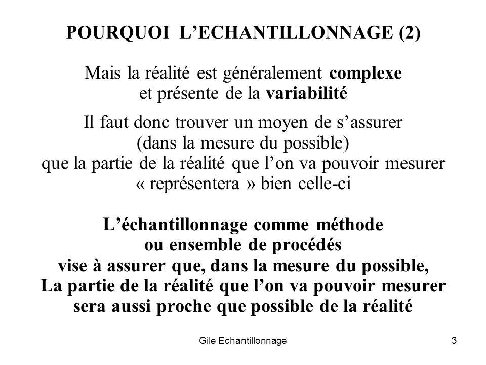 Gile Echantillonnage3 POURQUOI LECHANTILLONNAGE (2) Mais la réalité est généralement complexe et présente de la variabilité Il faut donc trouver un mo