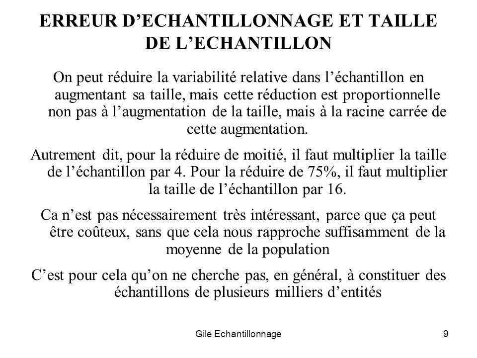 Gile Echantillonnage9 ERREUR DECHANTILLONNAGE ET TAILLE DE LECHANTILLON On peut réduire la variabilité relative dans léchantillon en augmentant sa tai