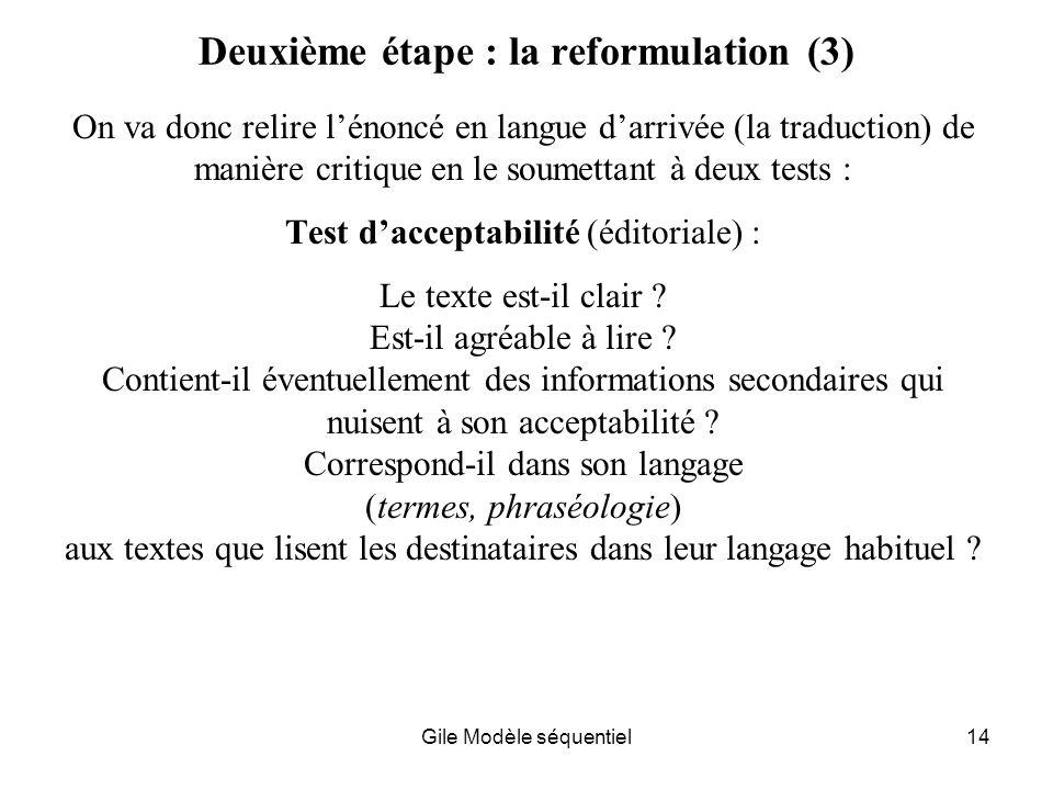 Gile Modèle séquentiel14 Deuxième étape : la reformulation (3) On va donc relire lénoncé en langue darrivée (la traduction) de manière critique en le soumettant à deux tests : Test dacceptabilité (éditoriale) : Le texte est-il clair .