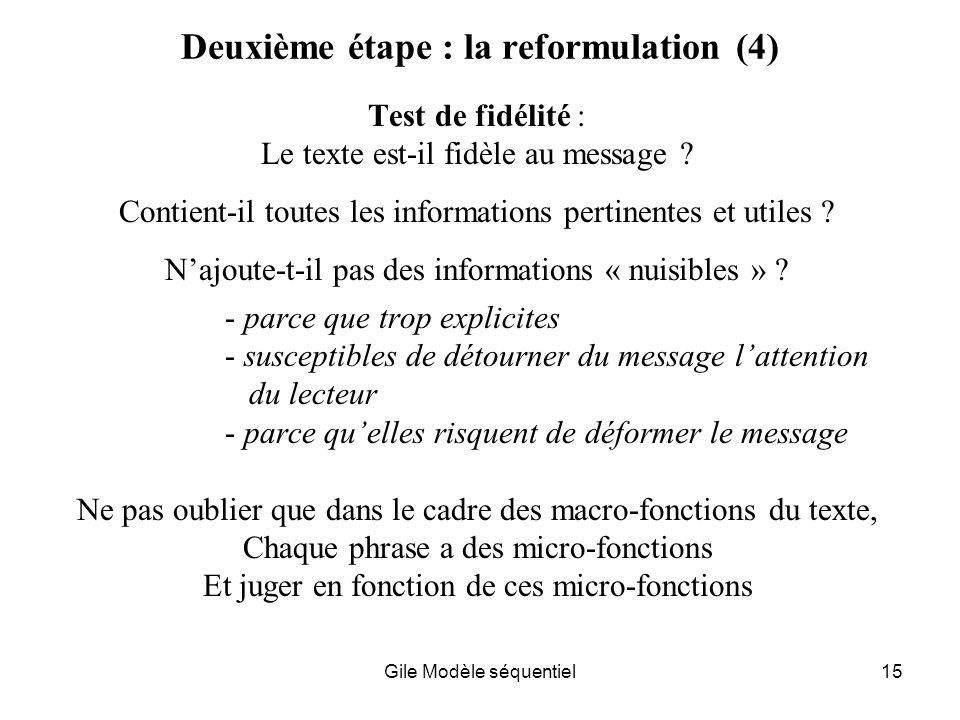 Gile Modèle séquentiel15 Deuxième étape : la reformulation (4) Test de fidélité : Le texte est-il fidèle au message .