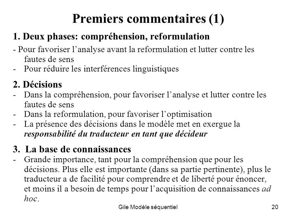 Gile Modèle séquentiel20 Premiers commentaires (1) 1.