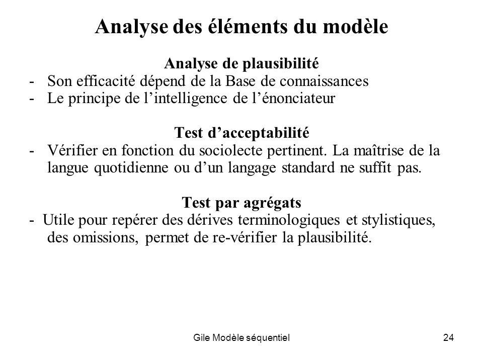 Gile Modèle séquentiel24 Analyse des éléments du modèle Analyse de plausibilité -Son efficacité dépend de la Base de connaissances -Le principe de lintelligence de lénonciateur Test dacceptabilité -Vérifier en fonction du sociolecte pertinent.