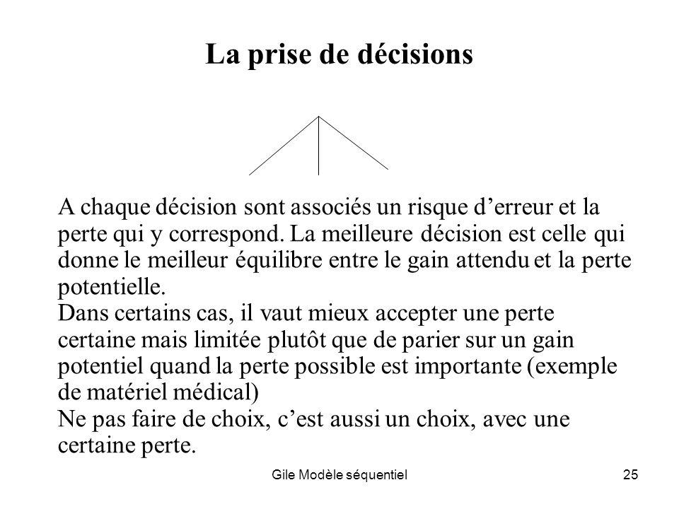 Gile Modèle séquentiel25 La prise de décisions A chaque décision sont associés un risque derreur et la perte qui y correspond.