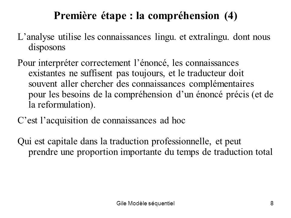 Gile Modèle séquentiel8 Première étape : la compréhension (4) Lanalyse utilise les connaissances lingu.