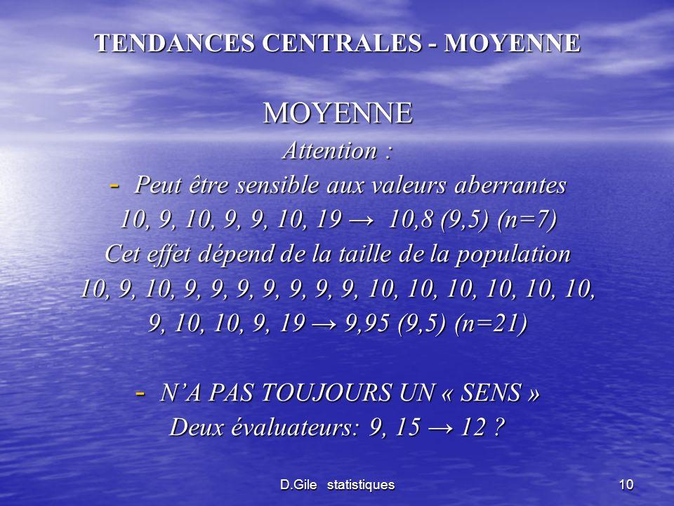 D.Gile statistiques10 TENDANCES CENTRALES - MOYENNE MOYENNE Attention : - Peut être sensible aux valeurs aberrantes 10, 9, 10, 9, 9, 10, 19 10,8 (9,5)