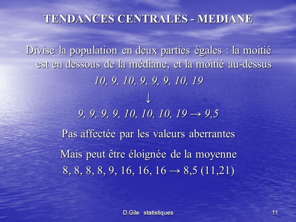 D.Gile statistiques11 TENDANCES CENTRALES - MEDIANE Divise la population en deux parties égales : la moitié est en dessous de la médiane, et la moitié