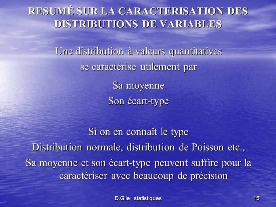 D.Gile statistiques15 RESUMÉ SUR LA CARACTERISATION DES DISTRIBUTIONS DE VARIABLES Une distribution à valeurs quantitatives se caractérise utilement p