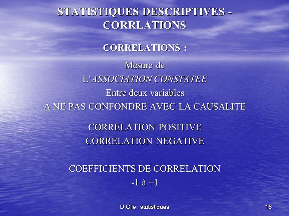 D.Gile statistiques16 STATISTIQUES DESCRIPTIVES - CORRLATIONS CORRELATIONS : Mesure de LASSOCIATION CONSTATEE Entre deux variables A NE PAS CONFONDRE