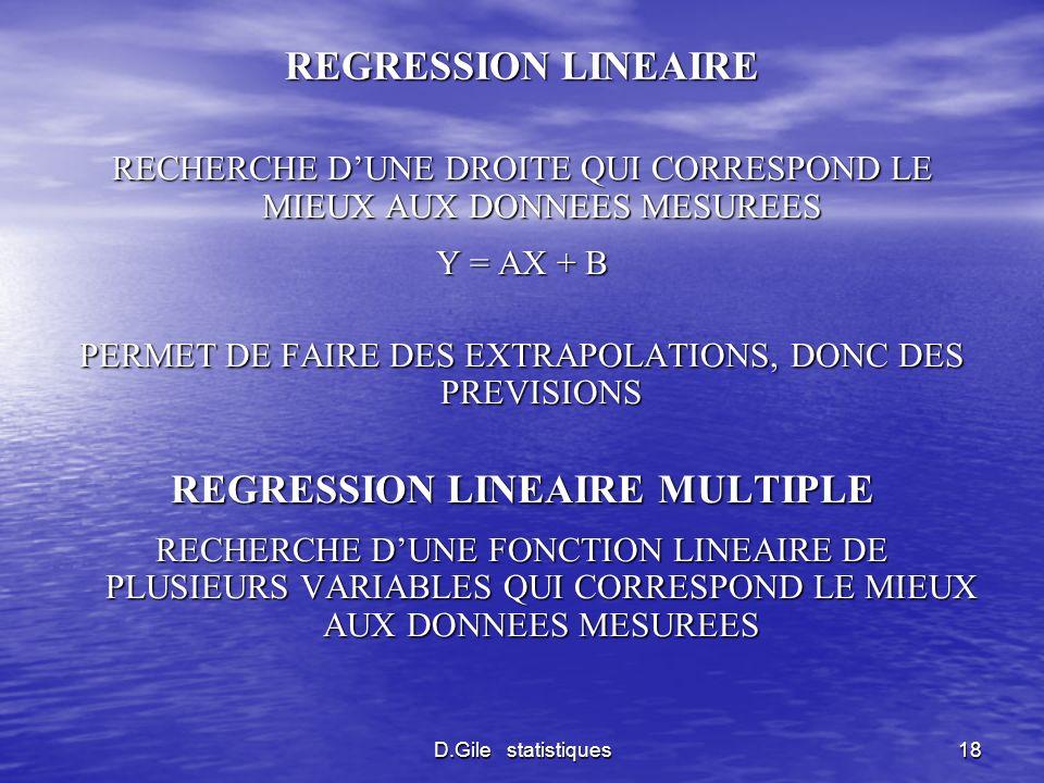 D.Gile statistiques18 REGRESSION LINEAIRE RECHERCHE DUNE DROITE QUI CORRESPOND LE MIEUX AUX DONNEES MESUREES Y = AX + B PERMET DE FAIRE DES EXTRAPOLAT
