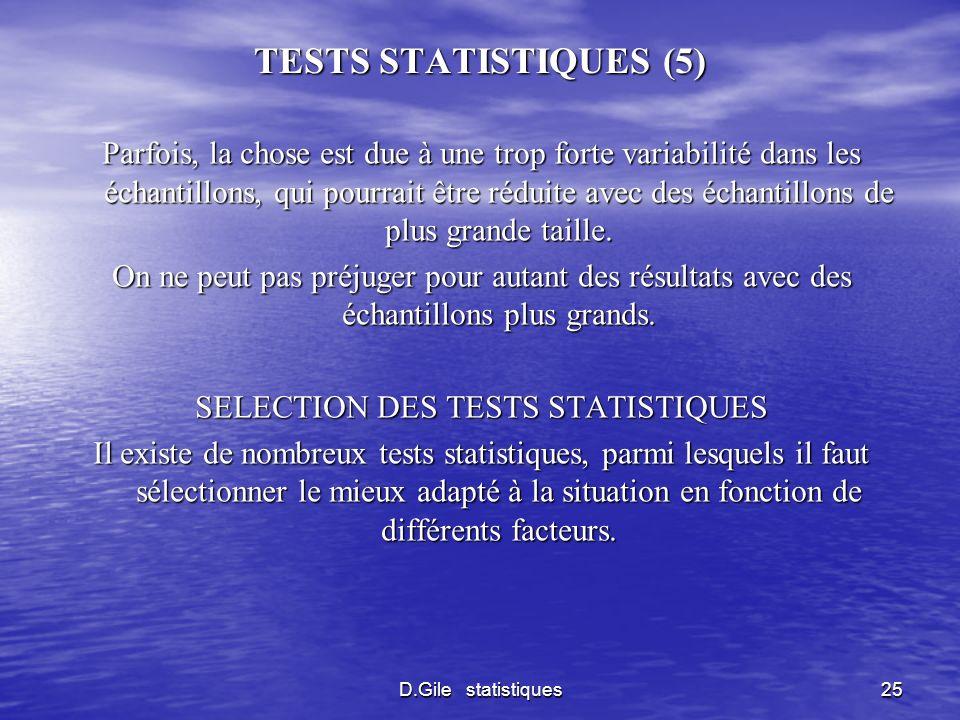 D.Gile statistiques25 TESTS STATISTIQUES (5) Parfois, la chose est due à une trop forte variabilité dans les échantillons, qui pourrait être réduite a