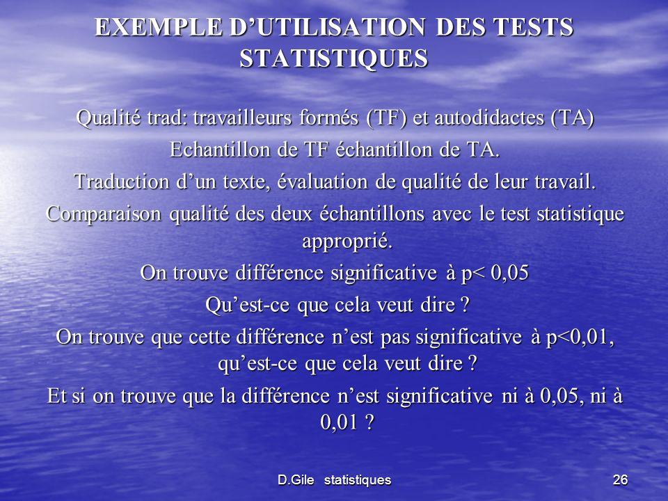 D.Gile statistiques26 EXEMPLE DUTILISATION DES TESTS STATISTIQUES Qualité trad: travailleurs formés (TF) et autodidactes (TA) Echantillon de TF échant