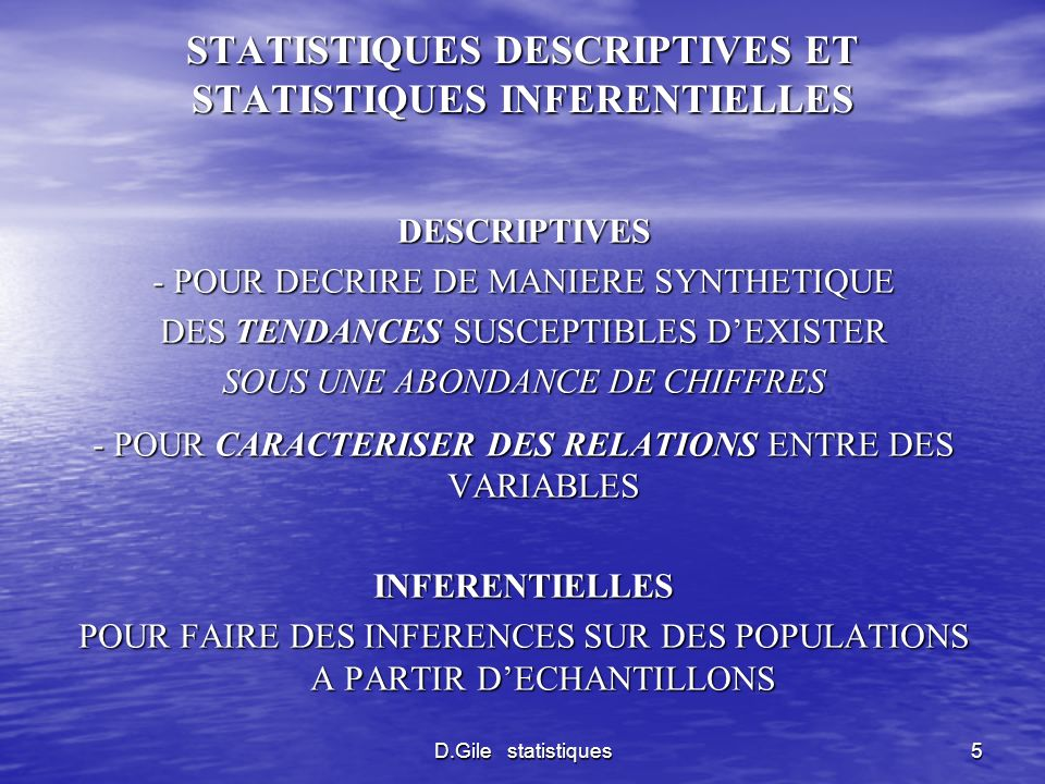 D.Gile statistiques5 STATISTIQUES DESCRIPTIVES ET STATISTIQUES INFERENTIELLES DESCRIPTIVES - POUR DECRIRE DE MANIERE SYNTHETIQUE DES TENDANCES SUSCEPT