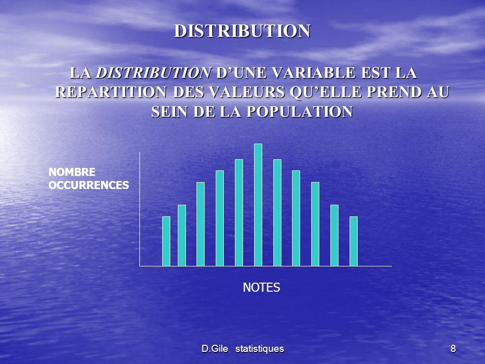 D.Gile statistiques8 DISTRIBUTION LA DISTRIBUTION DUNE VARIABLE EST LA REPARTITION DES VALEURS QUELLE PREND AU SEIN DE LA POPULATION NOMBRE OCCURRENCE