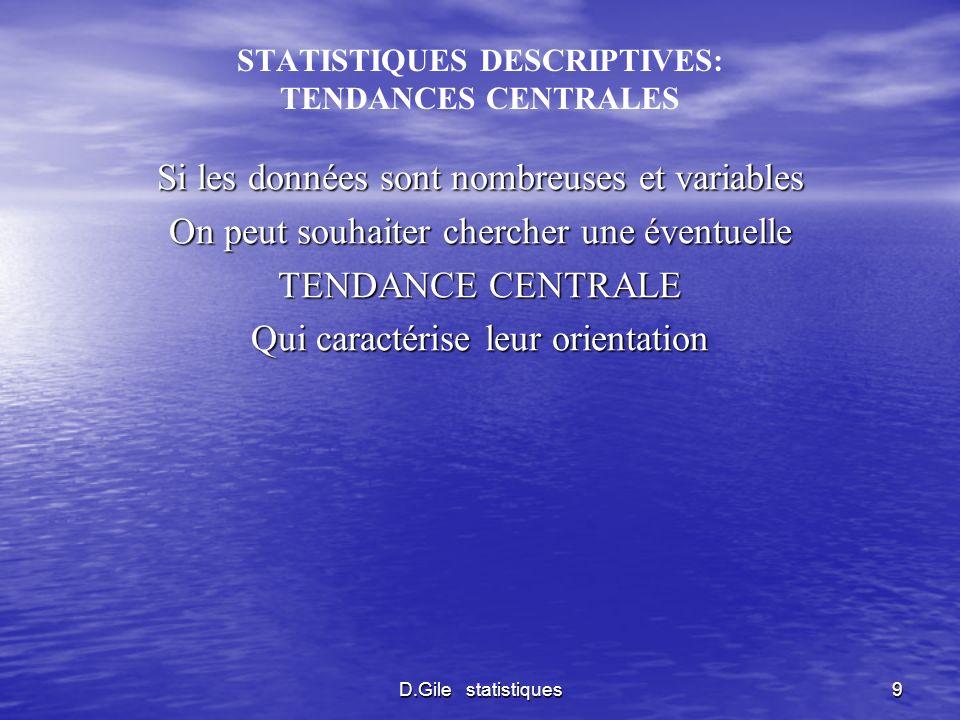 D.Gile statistiques20 STATISTIQUES INFERENTIELLES METHODES MATHEMATIQUES FONDEES SUR LA THEORIE DES PROBABILITES CALCULENT DES PROBABILITES SUR LA BASE DES TYPES DE DISTRIBUTION DES TENDANCES CENTRALES DE LA VARIABILITE CONSTATEES SUR DES ECHANTILLONS
