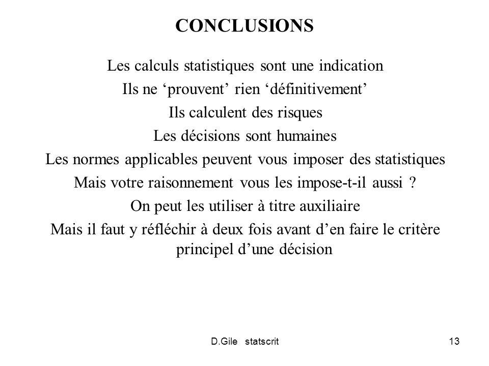 D.Gile statscrit13 CONCLUSIONS Les calculs statistiques sont une indication Ils ne prouvent rien définitivement Ils calculent des risques Les décisions sont humaines Les normes applicables peuvent vous imposer des statistiques Mais votre raisonnement vous les impose-t-il aussi .