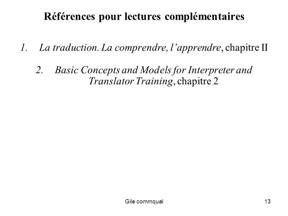 Gile commqual13 Références pour lectures complémentaires 1.La traduction.
