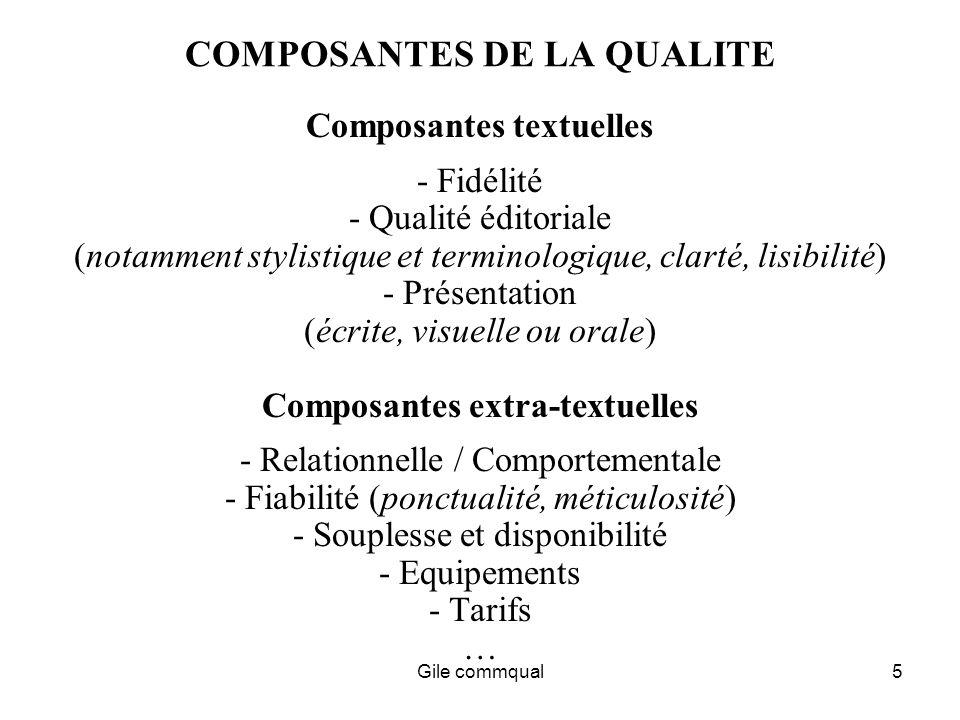 Gile commqual5 COMPOSANTES DE LA QUALITE Composantes textuelles - Fidélité - Qualité éditoriale (notamment stylistique et terminologique, clarté, lisibilité) - Présentation (écrite, visuelle ou orale) Composantes extra-textuelles - Relationnelle / Comportementale - Fiabilité (ponctualité, méticulosité) - Souplesse et disponibilité - Equipements - Tarifs …