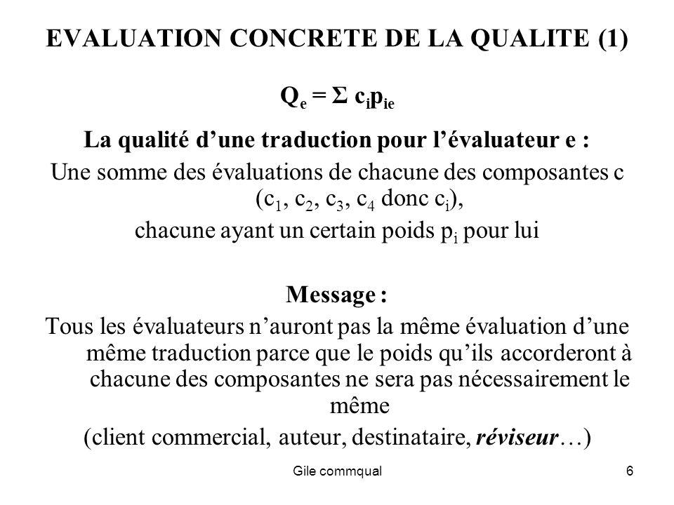 Gile commqual6 EVALUATION CONCRETE DE LA QUALITE (1) Q e = Σ c i p ie La qualité dune traduction pour lévaluateur e : Une somme des évaluations de chacune des composantes c (c 1, c 2, c 3, c 4 donc c i ), chacune ayant un certain poids p i pour lui Message : Tous les évaluateurs nauront pas la même évaluation dune même traduction parce que le poids quils accorderont à chacune des composantes ne sera pas nécessairement le même (client commercial, auteur, destinataire, réviseur…)