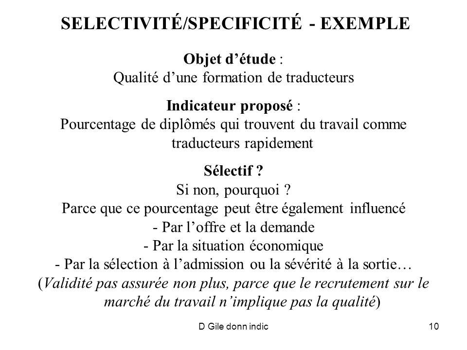 D Gile donn indic10 SELECTIVITÉ/SPECIFICITÉ - EXEMPLE Objet détude : Qualité dune formation de traducteurs Indicateur proposé : Pourcentage de diplômés qui trouvent du travail comme traducteurs rapidement Sélectif .