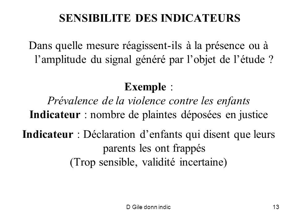 D Gile donn indic13 SENSIBILITE DES INDICATEURS Dans quelle mesure réagissent-ils à la présence ou à lamplitude du signal généré par lobjet de létude