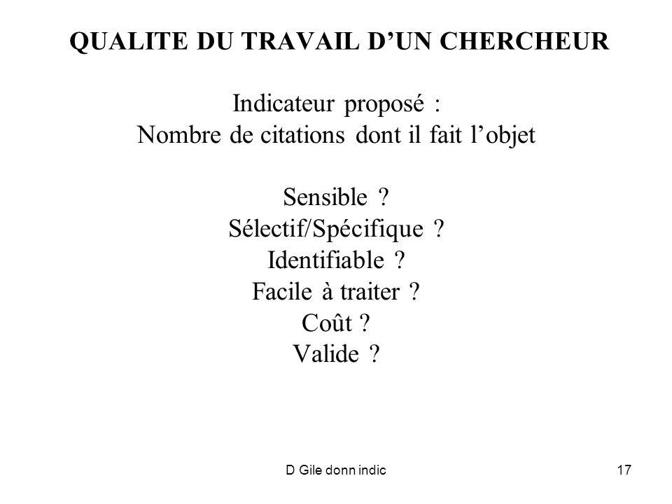 D Gile donn indic17 QUALITE DU TRAVAIL DUN CHERCHEUR Indicateur proposé : Nombre de citations dont il fait lobjet Sensible .