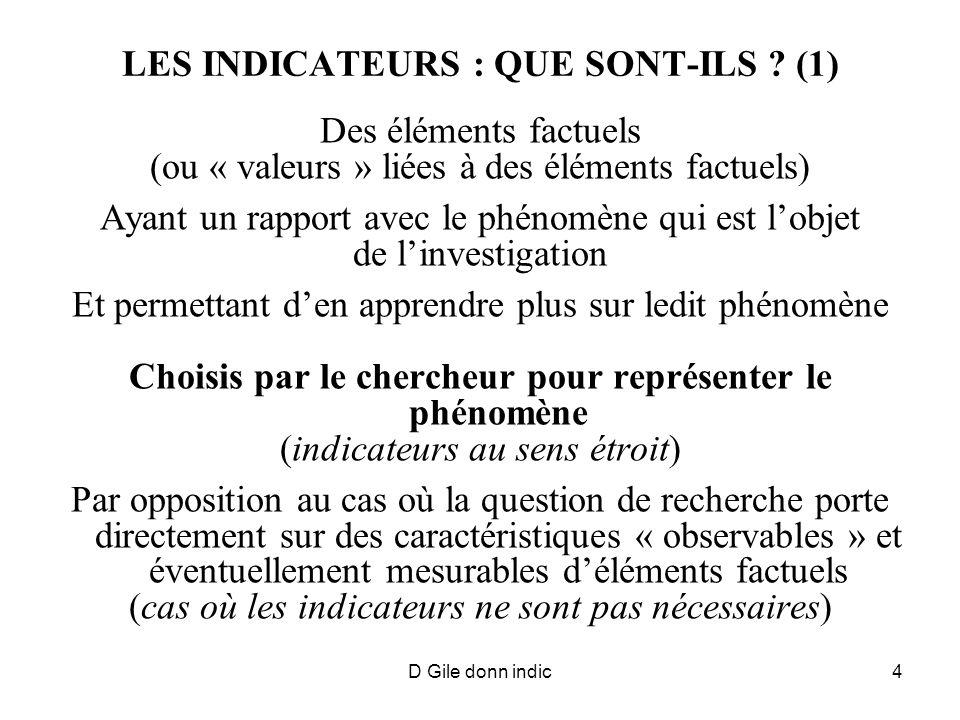 D Gile donn indic4 LES INDICATEURS : QUE SONT-ILS ? (1) Des éléments factuels (ou « valeurs » liées à des éléments factuels) Ayant un rapport avec le