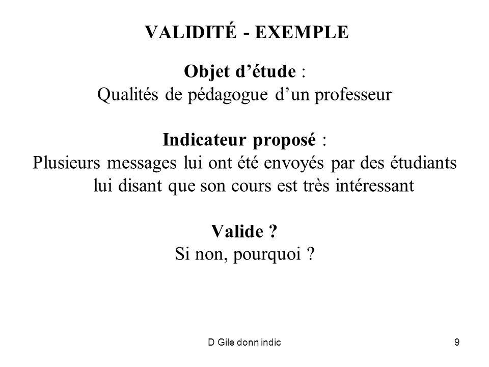 D Gile donn indic9 VALIDITÉ - EXEMPLE Objet détude : Qualités de pédagogue dun professeur Indicateur proposé : Plusieurs messages lui ont été envoyés