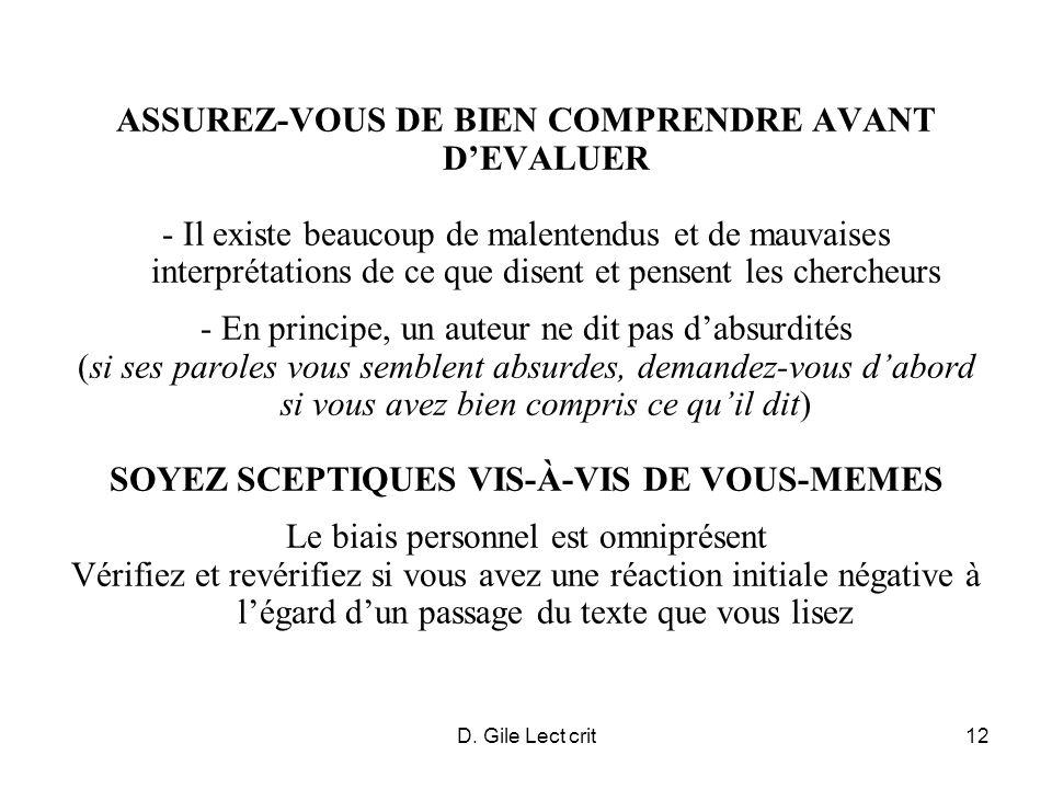 D. Gile Lect crit12 ASSUREZ-VOUS DE BIEN COMPRENDRE AVANT DEVALUER - Il existe beaucoup de malentendus et de mauvaises interprétations de ce que disen