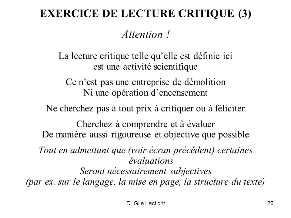 D. Gile Lect crit26 EXERCICE DE LECTURE CRITIQUE (3) Attention .