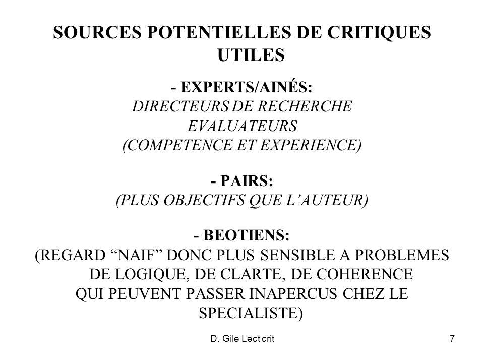 D. Gile Lect crit7 SOURCES POTENTIELLES DE CRITIQUES UTILES - EXPERTS/AINÉS: DIRECTEURS DE RECHERCHE EVALUATEURS (COMPETENCE ET EXPERIENCE) - PAIRS: (
