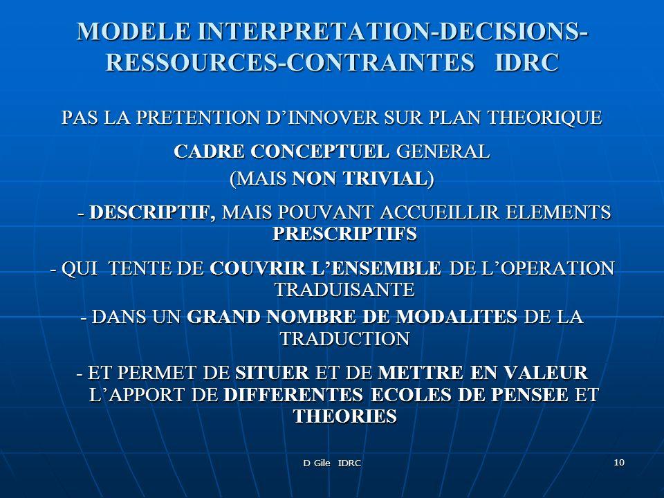 D Gile IDRC 11 CONSTRUCTION DU MODELE - LASSEMBLER AVEC DES ELEMENTS INCONTESTABLES POUR SENSIBILISER LES ETUDIANTS/TRADUCTOLOGUES SUR UNE BASE CONSENSUELLE - INTEGRER DANS LE MODELE TOUTES LES CATEGORIES DE PARAMETRES IMPORTANTES - LAISSER LES THEORIES AVANCER LEURS PIONS EN SE FOCALISANT ET EN THEORISANT SUR TEL ASPECT, TEL PARAMETRE