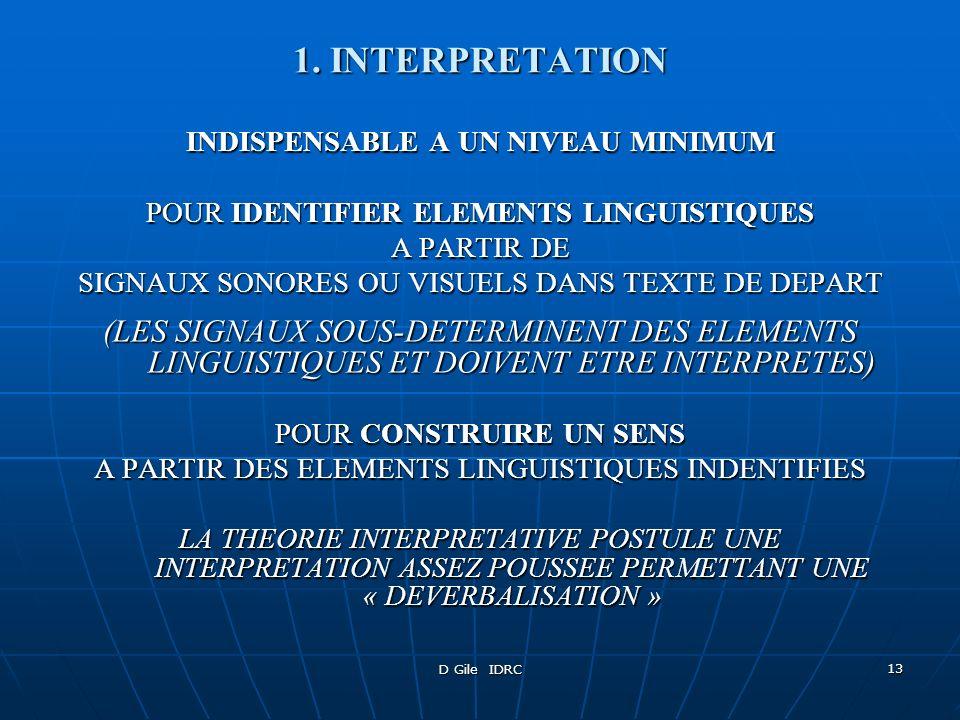 D Gile IDRC 13 1. INTERPRETATION INDISPENSABLE A UN NIVEAU MINIMUM POUR IDENTIFIER ELEMENTS LINGUISTIQUES A PARTIR DE SIGNAUX SONORES OU VISUELS DANS