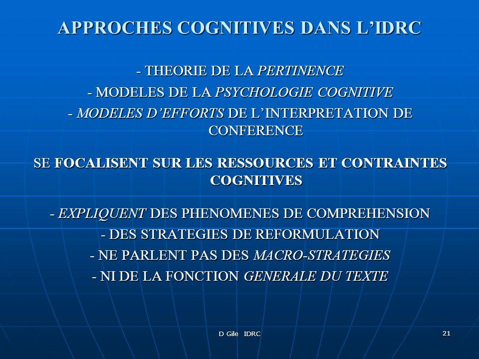 D Gile IDRC 21 APPROCHES COGNITIVES DANS LIDRC - THEORIE DE LA PERTINENCE - MODELES DE LA PSYCHOLOGIE COGNITIVE - MODELES DEFFORTS DE LINTERPRETATION
