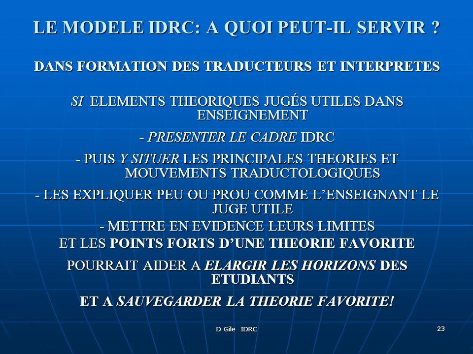 D Gile IDRC 23 LE MODELE IDRC: A QUOI PEUT-IL SERVIR ? DANS FORMATION DES TRADUCTEURS ET INTERPRETES SI ELEMENTS THEORIQUES JUGÉS UTILES DANS ENSEIGNE