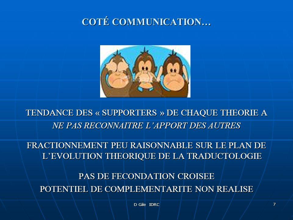 D Gile IDRC 7 COTÉ COMMUNICATION… TENDANCE DES « SUPPORTERS » DE CHAQUE THEORIE A NE PAS RECONNAITRE LAPPORT DES AUTRES FRACTIONNEMENT PEU RAISONNABLE